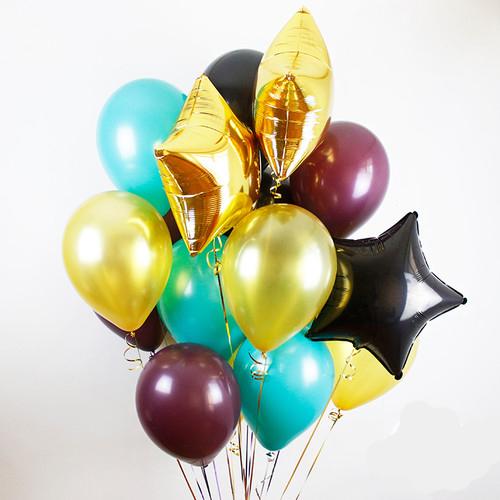 Связка Милитари Микс из воздушных шаров со звездами