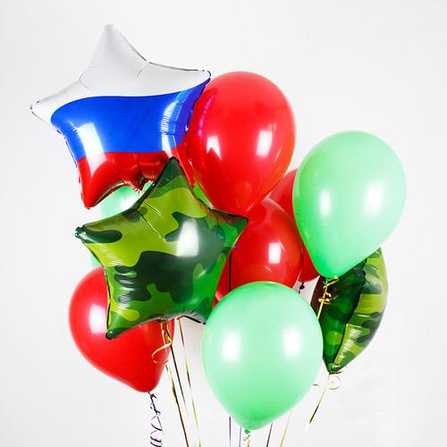 Связка Триколор и Камуфляж Микс из воздушных шаров со звездами
