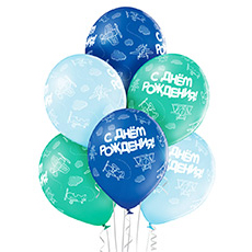 Связка из 6 шаров на День рождения с самолетами