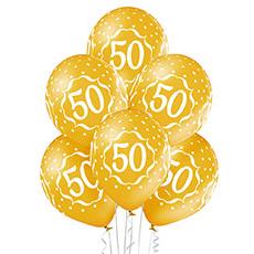 Связка из 6 шаров на юбилей 50 лет