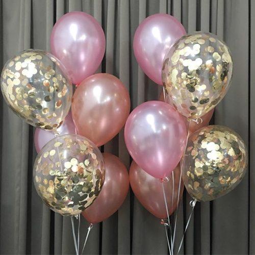 Связки шаров с Конфетти Золото и шары персик и розовый 2 штуки