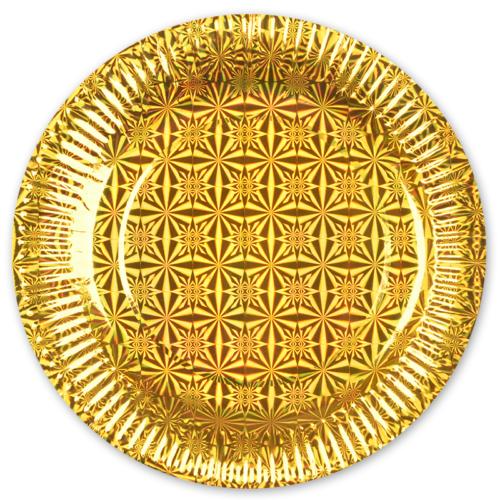 Тарелки 23 см Голография Золото 6 шт