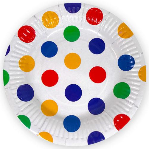Тарелки 23 см Разноцветные точки 6 шт