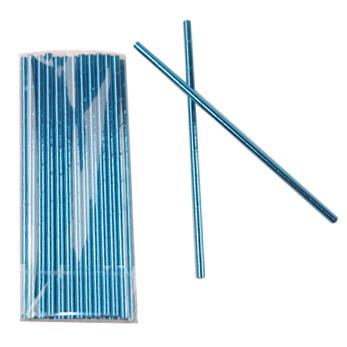 Трубочки для коктейля 20 см фольгированные одноразовые Блеск Голубые 25 штук