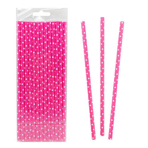 Трубочки для коктейля 20 см фольгированные одноразовые Горох Белый на розовом 25 штук