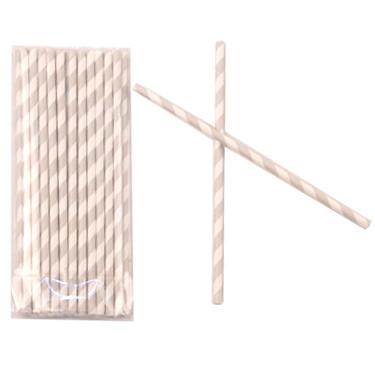 Трубочки для коктейля 20 см фольгированные одноразовые Полоски Серебро 25 штук