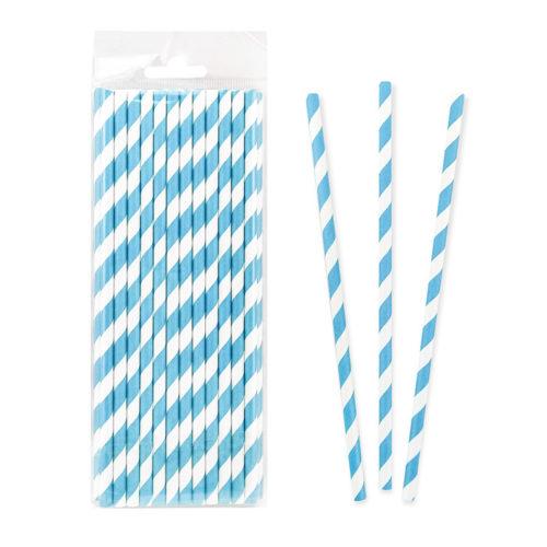 Трубочки для коктейля 20 см фольгированные одноразовые Полоски Синие 25 штук