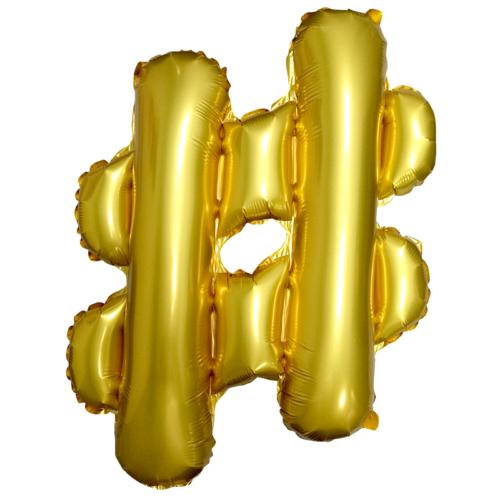 Шар 51 см Мини-фигура Хештег Золото Торт