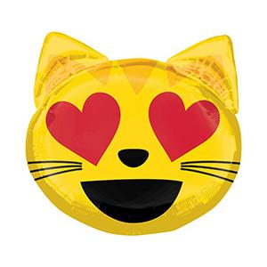 Шар 55 см Фигура Эмоции Смайлик Кошка влюбленный