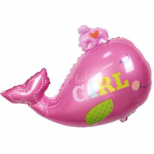 Шар 71 см Фигура Кит девочка Розовый