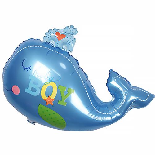 Шар 71 см Фигура Кит мальчик Голубой