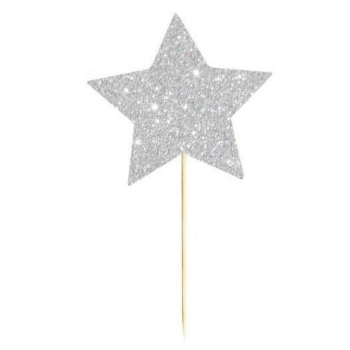 Шпажки для канапе 12см одноразовые Звезды Серебро 12 шт
