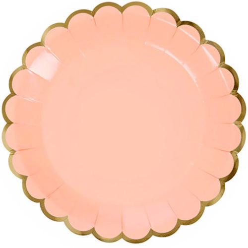 Тарелки 23 см с Золотой каймой Розовый