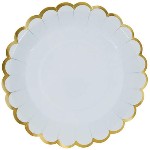 Тарелки 23 см с Золотой каймой Светло-голубой