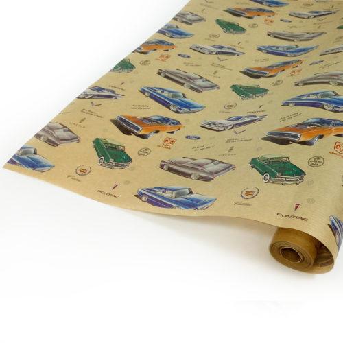Упаковочная бумага Крафт 40гр 0,72 м Автомобили ретро 1 метр