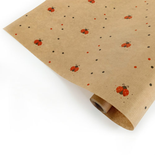 Упаковочная бумага Крафт 40гр 0,72 м Божьи коровки 1 метр