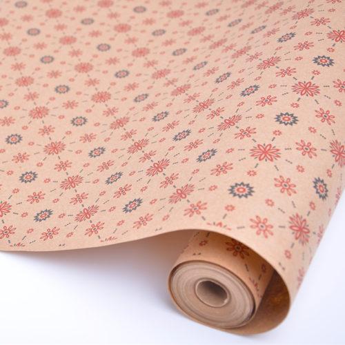 Упаковочная бумага Крафт 40гр 0,72 м Винтажные узоры цветные 1 метр