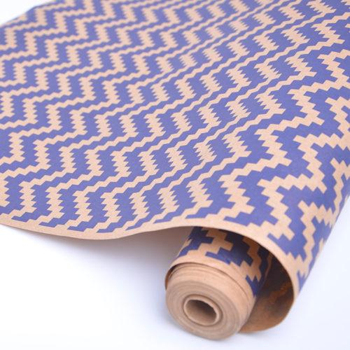 Упаковочная бумага Крафт 40гр 0,72 м Волны кубики синие 1 метр