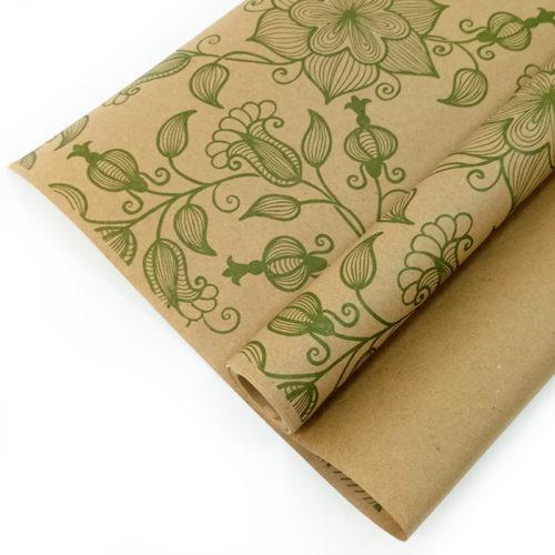 Упаковочная бумага Крафт 40гр 0,72 м Вьюнок полевой зеленый 1 метр