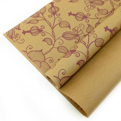 Упаковочная бумага Крафт 40гр 0,72 м Вьюнок полевой сиреневый 1 метр