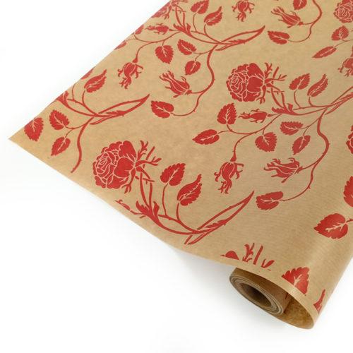 Упаковочная бумага Крафт 40гр 0,72 м Вьющиеся розы красные 1 метр