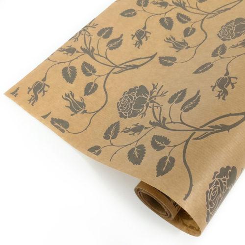 Упаковочная бумага Крафт 40гр 0,72 м Вьющиеся розы серые 1 метр