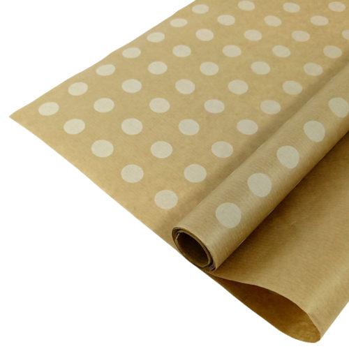 Упаковочная бумага Крафт 40гр 0,72 м Горох белый 1 метр