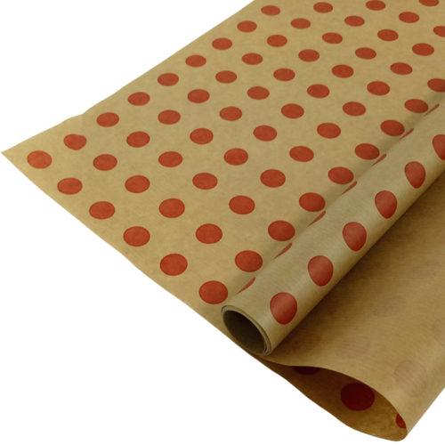 Упаковочная бумага Крафт 40гр 0,72 м Горох красный 1 метр