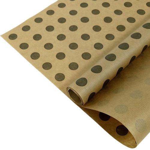 Упаковочная бумага Крафт 40гр 0,72 м Горох серый 1 метр