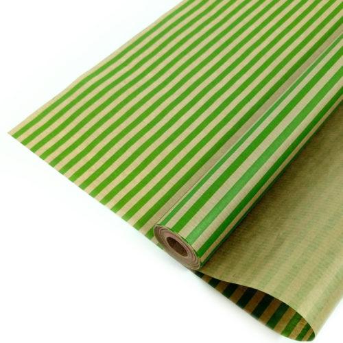 Упаковочная бумага Крафт 40гр 0,72 м Полосы светло-зеленые 1 метр