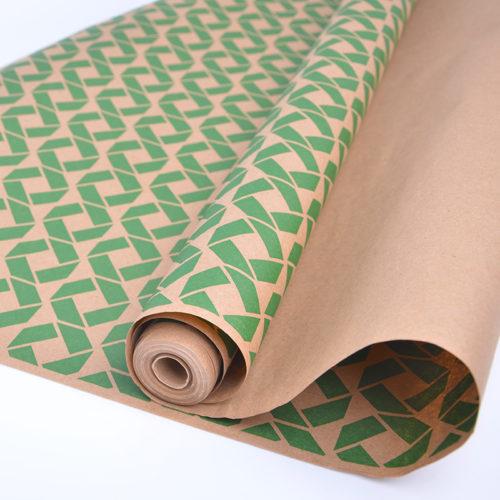 Упаковочная бумага Крафт 40гр 0,72 м Ромбы зеленые 1 метр
