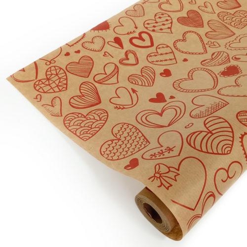 Упаковочная бумага Крафт 40гр 0,72 м Сердечки фигурные красные 1 метр