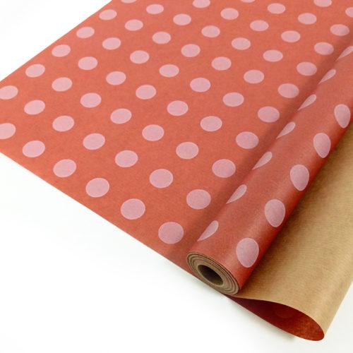 Упаковочная бумага Крафт 40гр 0,72 х 10 м Круги на розовом