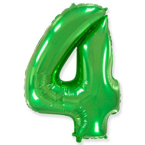 Шар 102 см Цифра 4 Зеленый