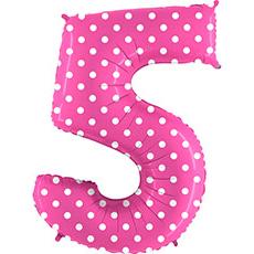 Шар 102 см Цифра 5 Горошек на розовом