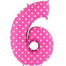 Шар 102 см Цифра 6 Горошек на розовом