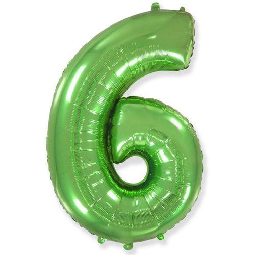 Шар 102 см Цифра 6 Зеленый