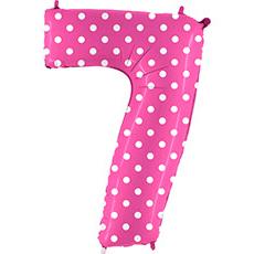 Шар 102 см Цифра 7 Горошек на розовом