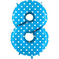 Шар 102 см Цифра 8 Горошек на голубом