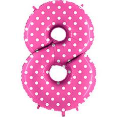 Шар 102 см Цифра 8 Горошек на розовом