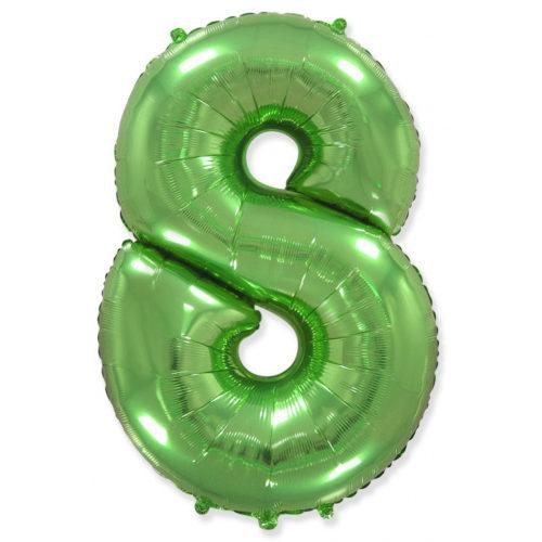 Шар 102 см Цифра 8 Зеленый