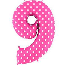 Шар 102 см Цифра 9 Горошек на розовом