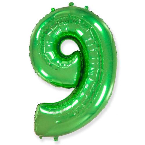 Шар 102 см Цифра 9 Зеленый