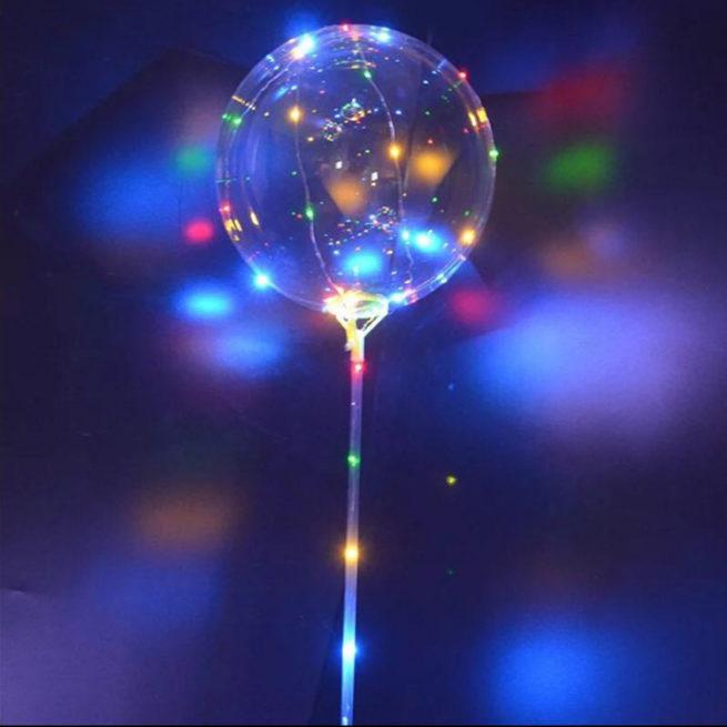 Шар 38 см 3D Сфера в комплекте со светящейся нитью и палкой 1 штука