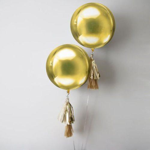 Шар 41 см 3D Сфера Золото с гирляндой тассел 2 штуки