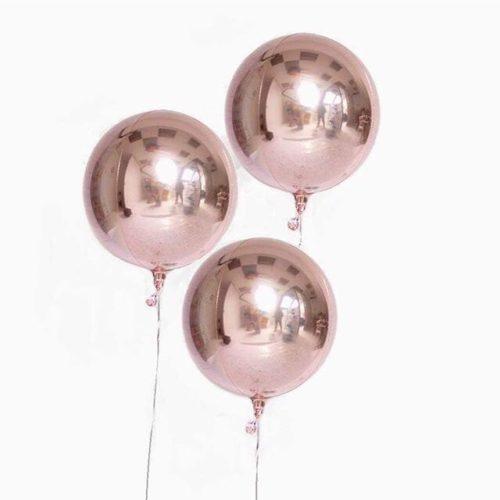 Шар 41 см 3D Сфера Розовое Золото 3 штуки
