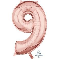 Шар 66 см Цифра 9 Розовое Золото