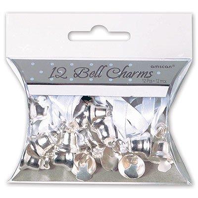 Колокольчик двойной серебряный с бантом 12 штук