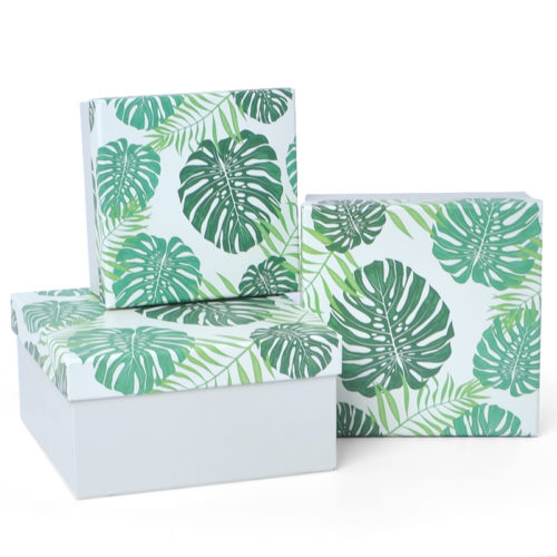 Коробка Зеленые листья Белый 13 х 13 х 6 см