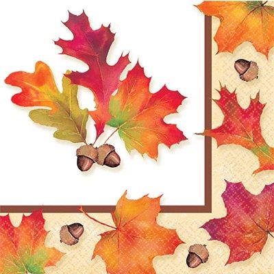 Салфетки 25 см Осенние листья 16 штук